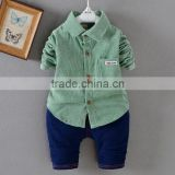 KS006A Korea baby boys clothing corduroy shirt and denim pants baby 2 piece suit