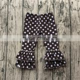 Wholesale polka dot baby girls icing leggings children wear autumn long ruffle pants kids cotton knitted trousers