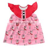 Newset Wholesale Baby Floral Cotton Printing Dress Children Girls Ruffle Tops Boutique Baby Clothes