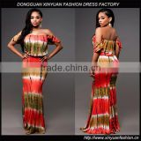 Latest African Off Shoulder Printed Straight Dresses Ladies Sexy Indian Party Maxi Dress