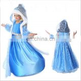 Hot sale baby girls summer dress elsa dress cosplay costume in frozen elsa dress cosplay costume FC2027