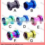 hot Titanium anodized hexagon tunnel, 2 gauge,screw ear piercing plug tunnel jewelry rings