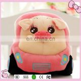 OEM lovely plush car toy with animal head soft plush car toys for kids
