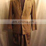 2-Button Patterned Wool Suit - Navy Fineline Stripe Men Suit - Fashion Skinny Suit for Women - tailored suits OEM