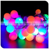 50 led multicolor christmas light with frosted ball decaration white wire tree light factory wholesale