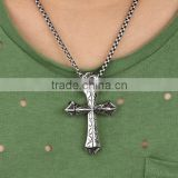 Titanium Sterling Steel Man Necklace Cross Charm Pendants Include 316L Stainless Steel Chains Paypal Accept
