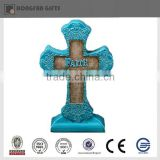 blue religious polyresin cross ornament