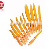 (DCK-028) Orange Color 11 Pieces Teflon Spray Coating Stainless Steel Kitchen Coating Knife Set