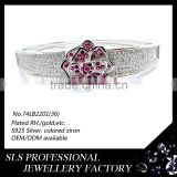 2015 May latest flower style wholesalers jewelry 925 sterling silver white gold plating bracelet connected ring -SLS