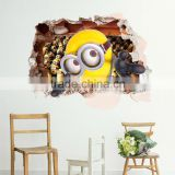 3 d cartoon yellow wall stick/children room decoration stickers can be removed/waterproof stickers