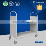 School library furniture/heavy duty flat book cart/library steel book trolley