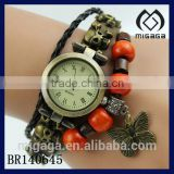 fashion wooden beads braided leather bracelet with watch*cool butterfly charm watch bracelet