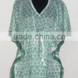 Indian Designer Handmade Kaftan Cotton Hand Block Printed Poncho Maxi Night Dress Beach Wear Caftan