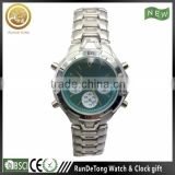 Silvery green dial roman numberals three eyes six hands four buttons brand watch factory china