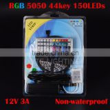 5M 150Leds/roll SMD 5050 30 leds/m Non-waterproof RGB LED Strip Light digital +44 key IR Remote controller+12v 3A power supply