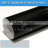 160Microns Easy To Clean Self Adhesive 4D Carbon Fiber Vinyl For Cars