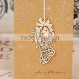Snow boot wooden-handmade decoration exquisite desing pattern chirstmas card /greeting card