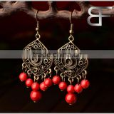 Retro Decorative Long Chandelier Drop Earrings Red Beads for women