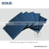 S/6 Square blue faux leather cup coaster set