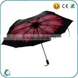 2015 Hot Selling Double Canopy Black Coated Flower Printed Inside Standard Foldable Umbrella
