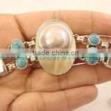 Masterpiece!! Sterling Silver Blister Pearl & Turquoise Bracelet Semiprecious Bulk Chain Wholesale Gems