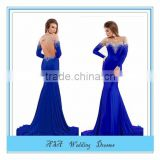 Latest Design Formal Evening Gown royal blue Long Formal Dresses Sexy Backless Crystal Beading Mermaid Evening Dress(YASA-998)