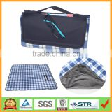 "Multi-purpose 50""x60"" Plaid Fleece Lined Nylon Picnic Blanket Waterproof Stadium Blanket"