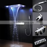 luxury bathroom accessories dual rain and waterfall shower set with multiple function high flow Hot/cold faucet mixer