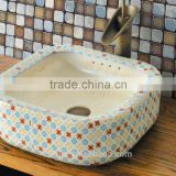 Handpainted ceramic art basin colorful countertop round sink porcelain flower edge bowl vanity top GD-F20