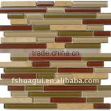 HG-CDT003 Brown strip crystal glass mix KIMPI marble mosaic hotel loby backsplash interior wall tiles