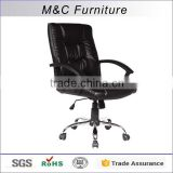 Shiny black pu good sale swivel office guest chair