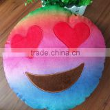 New arrival 35cm rainbow car cushion, high quality emoticon plush emoji pillow heart eyes plush toy