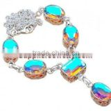 Rainbow Mystic Topaz Jewelry Heart Shaped Diamond Earrings Round Brilliant Cut Gold Necklaces