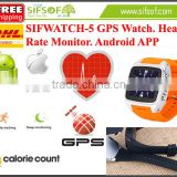 SIFWATCH-5 Heart Rate Monitoring Pedometer Watch With Android APP, Built in Battery, 2015 WiFi Watch Pedometer