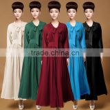 Wholesale EuropeanAmerican Lady Long Sleeved Long Dress with one open leg (LCHDS26)