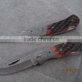 DM-012 Small Size High Quality Custom Handmade Red Wood Handle Damascus Folding Pocket Knife
