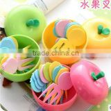 CY046 Apple Shape Plastic Fruit Forks Set with Stand Container Dessert Salad Forks for Kitchen Table Accessories