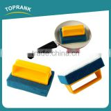 Toprank Customized Colorful Rectangle Shape Kitchen Cleaning Pads Dish Pot Cleaning Sponge Scouring Brush With Plastic Handle