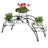 Elegant Arch Metal Potted Plant Garden Patio Display Rack with 3 holders Flower Pots Holders Display Stand