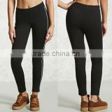 Wholesale Gym Leggings Contrast Trim 100% Cotton Full Length Elastic Waist Black Cheap Tights From China For Women