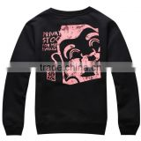Normal Style Mens Black Slim Fit Crewneck Sweatshirt Street Wear Custom Printed Sweatshirt OEM