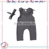 Casual Style Cotton Solid Grey infant baby girl clothes kids Jumpsuit Baby layette