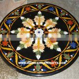 Marble Stone Inlay Table Top, Marble Inlaid Antique Dining Table