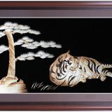 tiger gift painting straw painting, business gift straw painting  chinese handicraft art  tiger gift