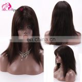 Hot Selling Good Feedback Natural Color Silky Straight 100% Human Hair Virgin Brazilian Lace front Wig With Bangs