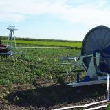 Agricultural mobile hose reel irrigation system driven by water turbine