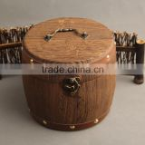 Antique Paulownia Wood Tea Box&Case Product Type and Europe Regional Feature Round Small Cute Wooden jewelry packaging Boxes
