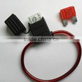 12V Universal ATC ATO Style Inline Car blade Fuse Holder with red 10 gauge wire loop