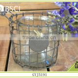 2015 new product iron basket glass candle holder for home decoration