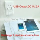 best quality smart app female unique design USA usb wall socket for 5V 3A